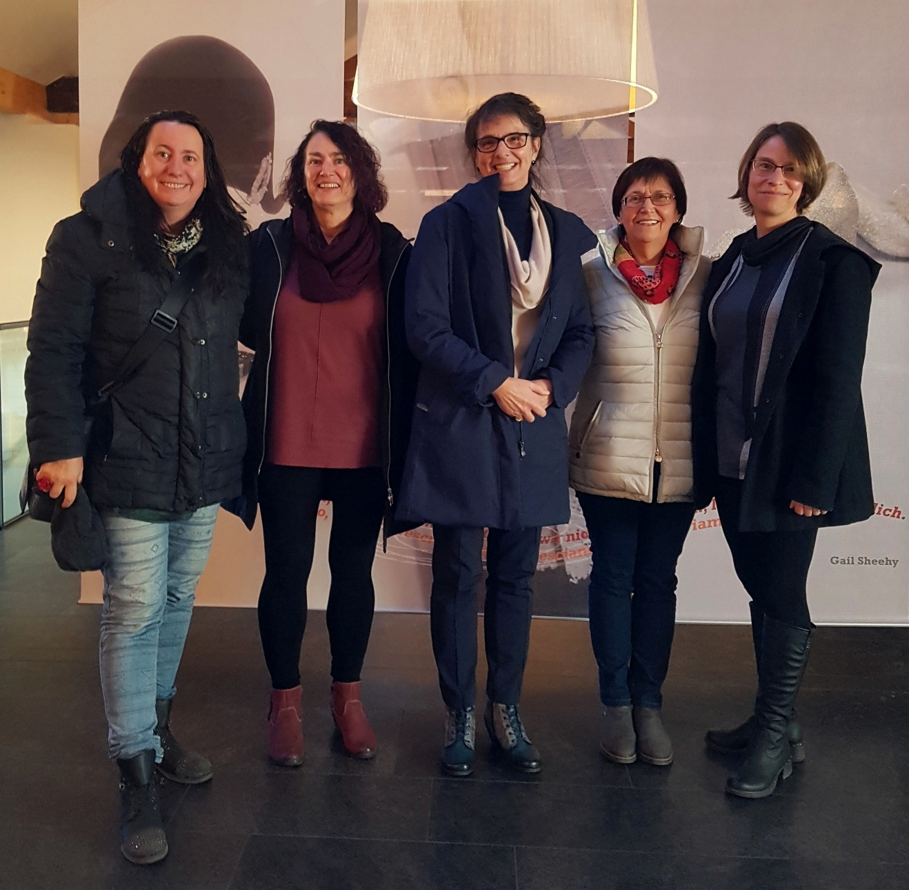 Visiting the Women's Museum in Meran in 2018: From left to right: Astrid Schönweger, IAWM; Dr. Kathy Sanford, University of Victoria; Dr. Darlene Clover, University of Victoria; Sissi Prader, Women's Museum Meran; and Dr. Nancy Taber, University Brock;