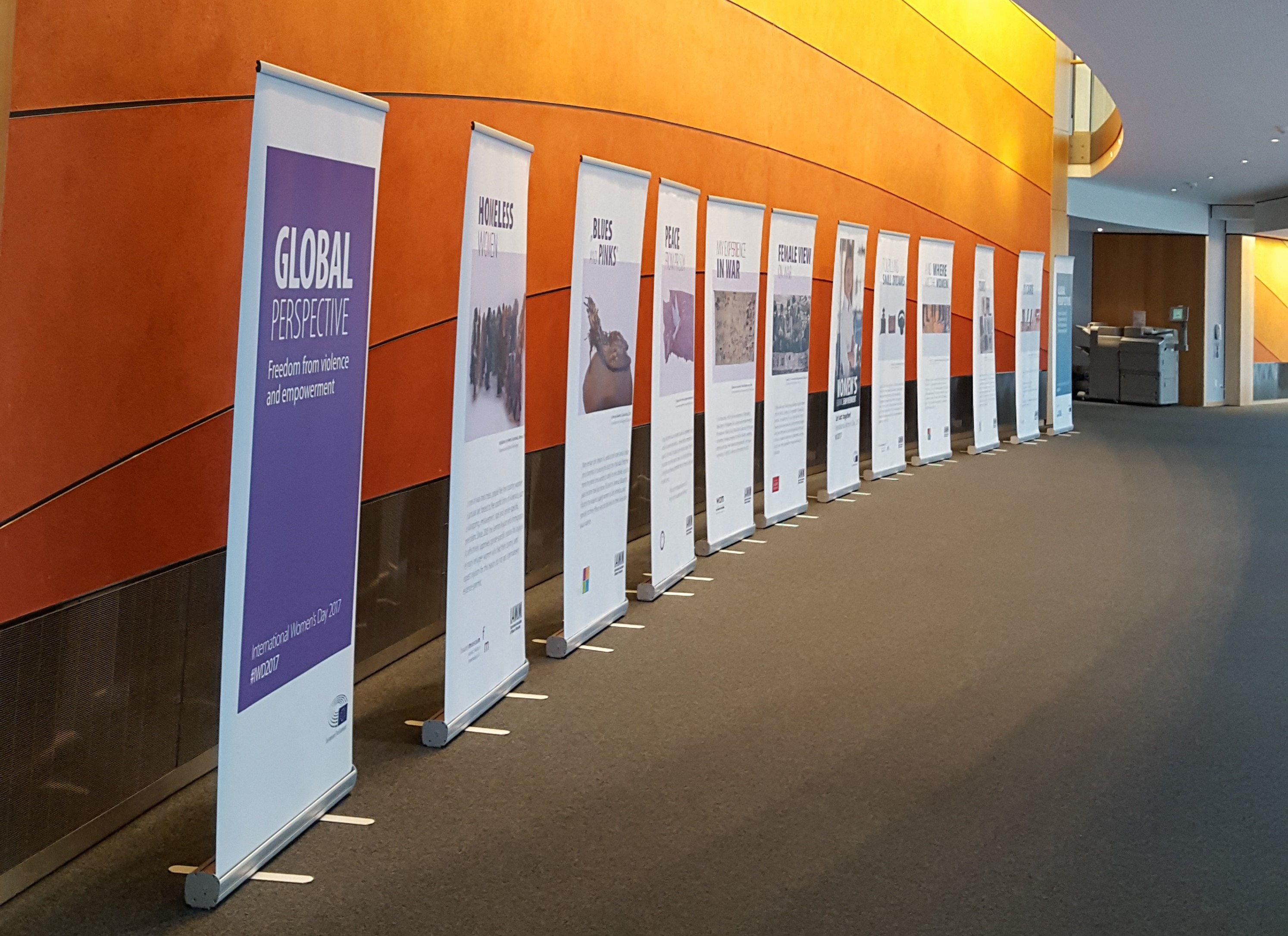 Pop-up banners at the Parliament exhibition