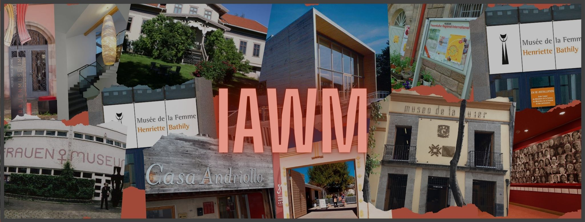 Photographs of women's museums in a collage surrounding IAWM