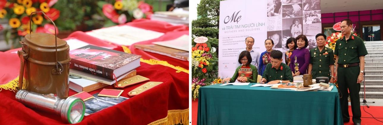 Objects donated by wartime soldiers (left) and the signing ceremony of collaboration between the Vietnamese Women's Museum and the Soldiers' Heart Club (right)