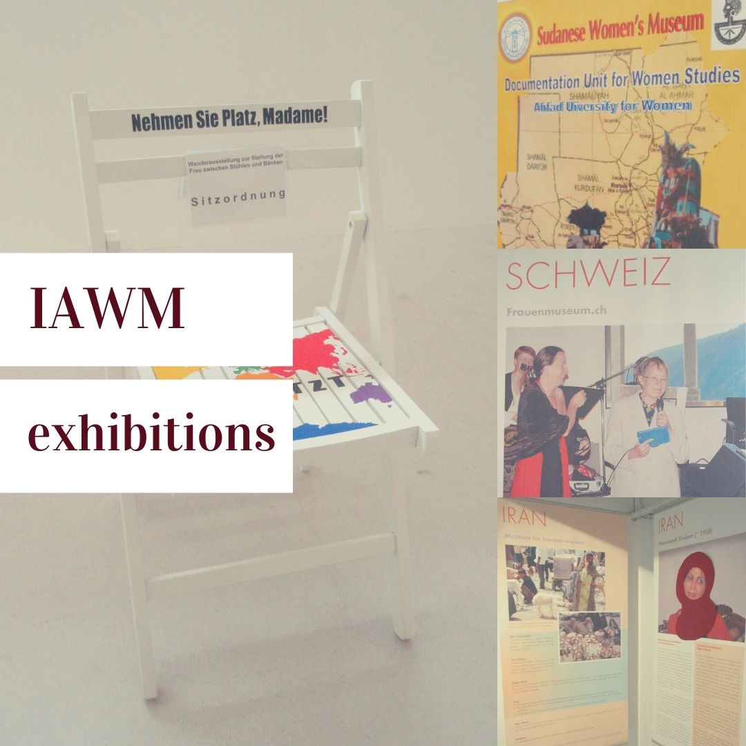 """""""IAWM exhibitions"""" with four pictures of exhibit panels from various exhibits"""